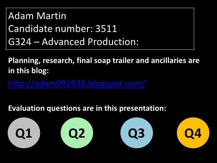 Adam Martin - G324 Advanced Production - Evaluation:
