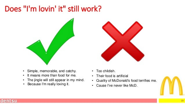 """23 Does """"I'm lovin' it"""" still work? • Simple, memorable, and catchy. • Too childish. • Cause I've never like McD. • It mea..."""