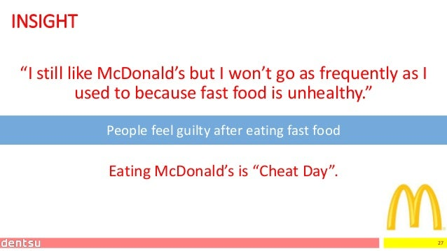 """27 INSIGHT """"I still like McDonald's but I won't go as frequently as I used to because fast food is unhealthy."""" People feel..."""
