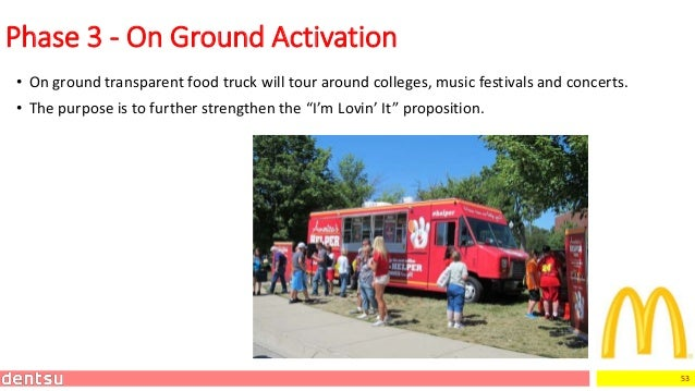 53 • On ground transparent food truck will tour around colleges, music festivals and concerts. • The purpose is to further...