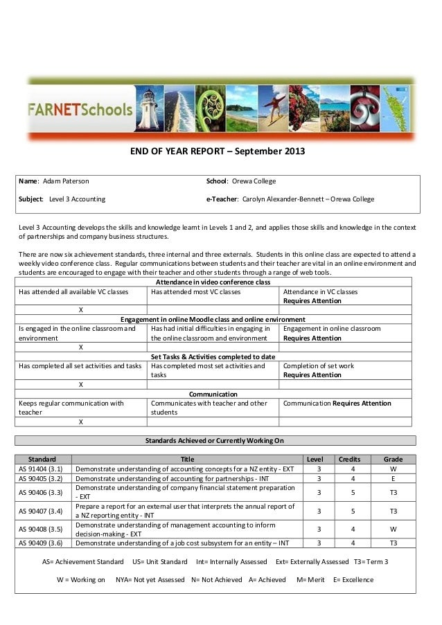 Template for e learning end of year report for End of year financial report template