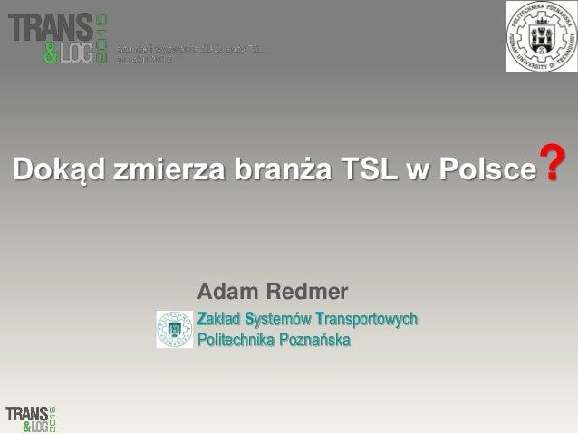 Dokąd zmierza branża TSL w Polsce? Adam Redmer Zakład Systemów Transportowych Politechnika Poznańska