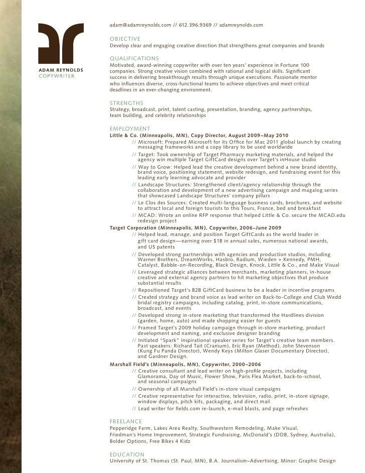 Nice Adam Reynolds Copywriter Resume. Adam@adamreynolds.com // // 612.396.9369  Adamreynolds.com Adam ... Regard To Copywriter Resume
