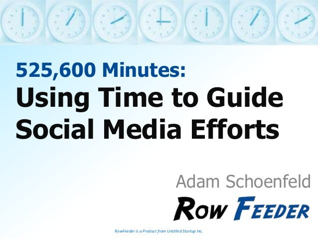 525,600 Minutes: Using Time to Guide Social Media Efforts Adam Schoenfeld RowFeeder is a Product from Untitled Startup Inc.