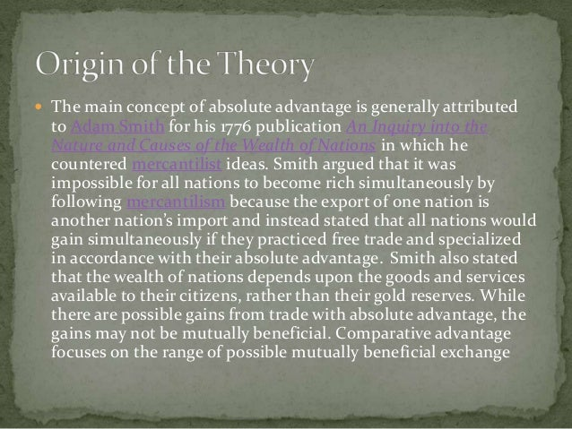 compare the trade approach of adam Adam smith's theory of absolute advantage and the use of doxography in the history of economics and compare them with the textbook version of his theory in contrast to smith's dynamic approach, later trade theory is predominantly static.