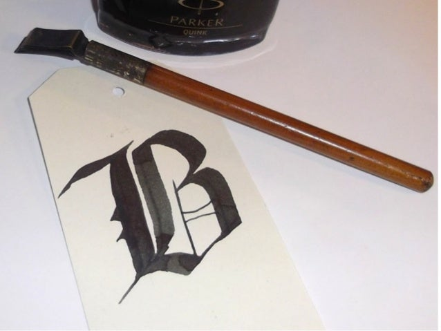Blackletter set in metal, imitates calligraphic forms