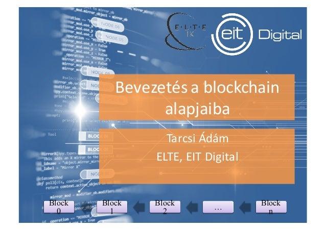 Bevezetésablockchain alapjaiba TarcsiÁdám ELTE,EITDigital Block 0 Block 1 Block 2 … Block n