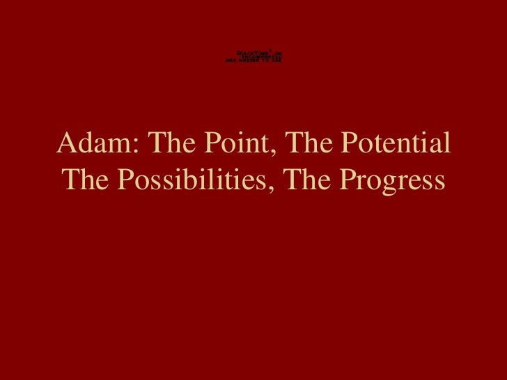 Adam: The Point, The Potential The Possibilities, The Progress