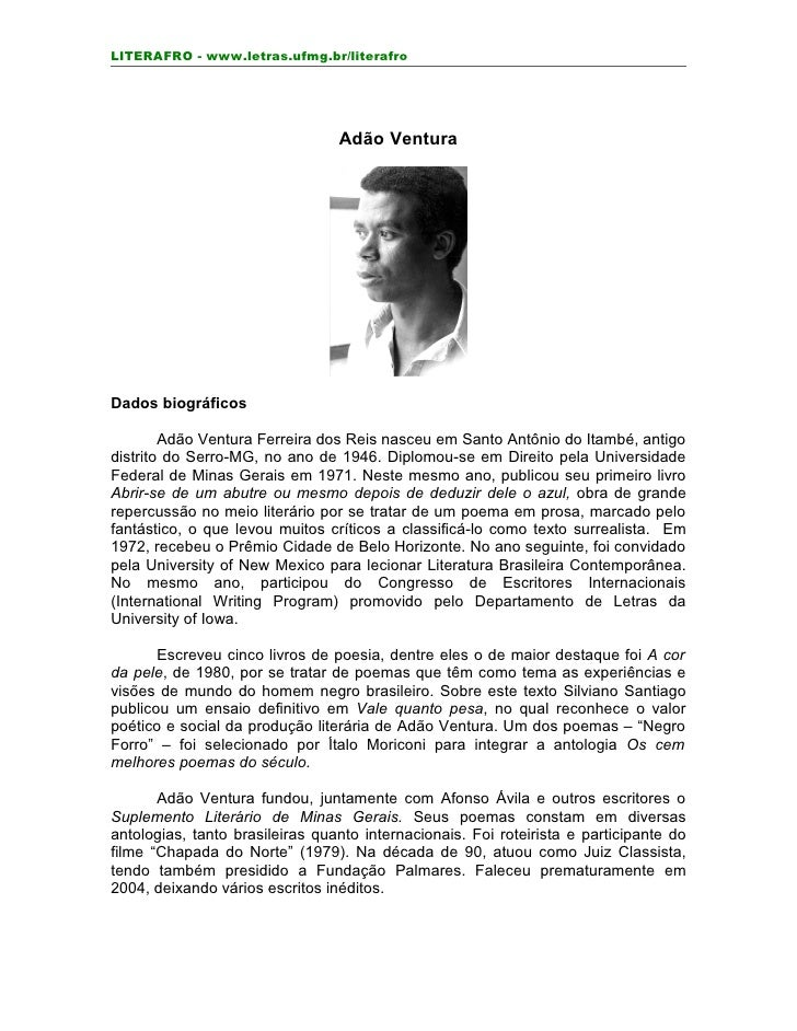 LITERAFRO - www.letras.ufmg.br/literafro                                      Adão Ventura     Dados biográficos          ...