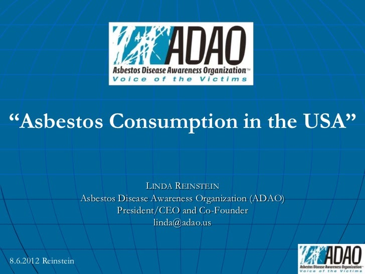 "Linda Reinstein: ""ADAO: Asbestos Consumption In The USA"" By Linda Reinstein"