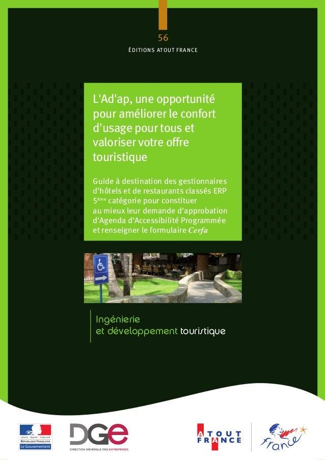 Ingénierie et développement touristique 56 éditions atout france L'Ad'ap, une opportunité pour améliorer le confort d'usag...