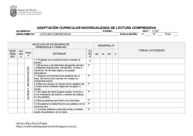 ADAPTACIÓN CURRICULAR INDIVIDUALIZADA DE LECTURA COMPRENSIVA ALUMNO/A: CURSO: NCC1 : 1º EP ÁREA/ÁMBITO: LECTURA COMPRENSIV...