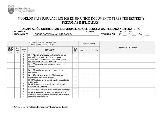 MODELOS BASE PARA ACI LOMCE EN UN ÚNICO DOCUMENTO (TRES TRIMESTRES Y PERSONAS IMPLICADAS) ADAPTACIÓN CURRICULAR INDIVIDUAL...