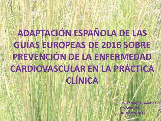 ADAPTACIÓN ESPAÑOLA DE LAS GUÍAS EUROPEAS DE 2016 SOBRE PREVENCIÓN DE LA ENFERMEDAD CARDIOVASCULAR EN LA PRÁCTICA CLÍNICA ...