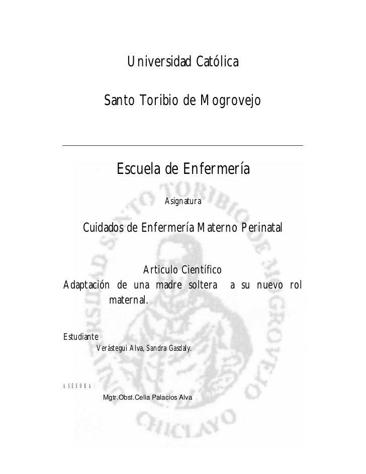 Universidad Católica               Santo Toribio de Mogrovejo                     Escuela de Enfermería                   ...