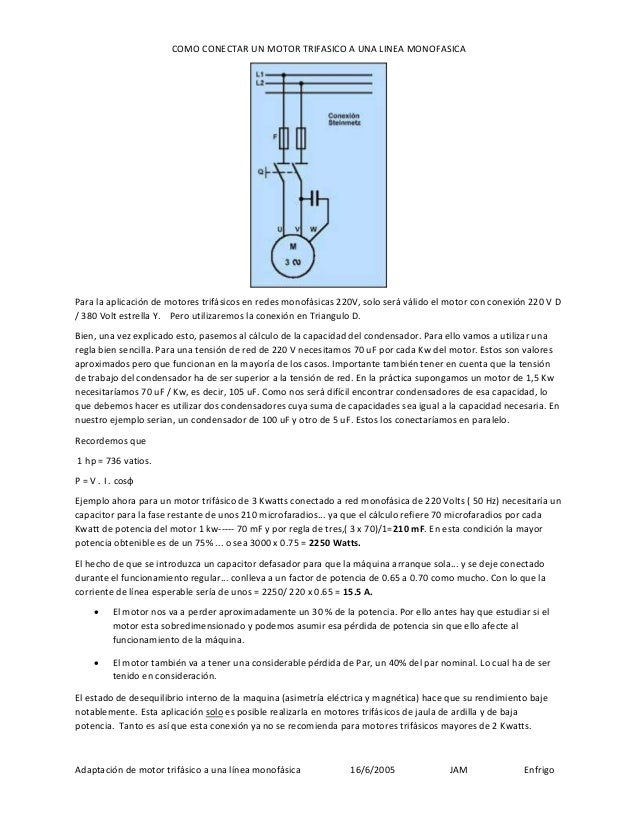 Adaptacion De Motor Trifasico A Linea Monofasica Jam