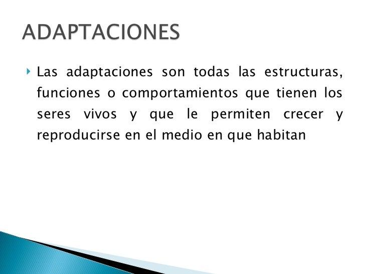 <ul><li>Las adaptaciones son todas las estructuras, funciones o comportamientos que tienen los seres vivos y que le permit...