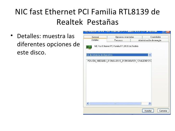 Nic fast ethernet pci familia rtl8139 de realtek