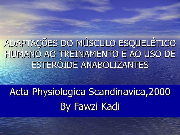 ADAPTAÇÕES DO MÚSCULO ESQUELÉTICO HUMANO AO TREINAMENTO E AO USO DE ESTERÓIDE ANABOLIZANTES Acta Physiologica Scandinavica...