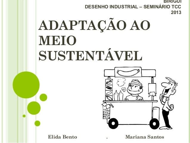 ADAPTAÇÃO AOMEIOSUSTENTÁVELElida Bento . Mariana SantosBIRIGUIDESENHO INDUSTRIAL – SEMINÁRIO TCC2013