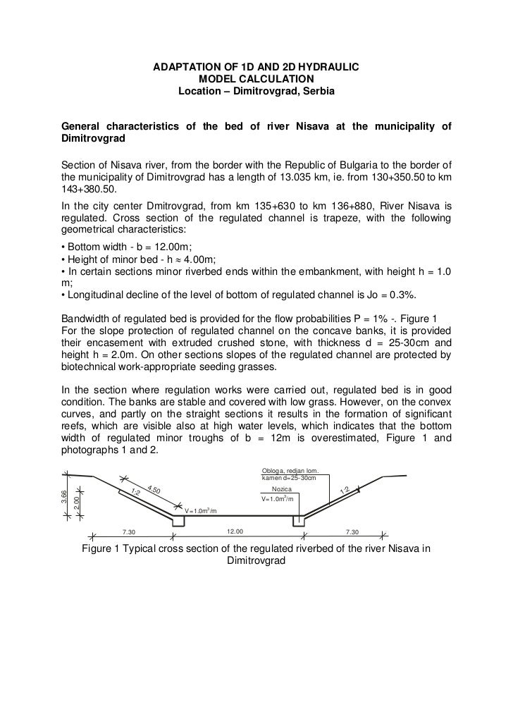 ADAPTATION OF 1D AND 2D HYDRAULIC                                       MODEL CALCULATION                                 ...