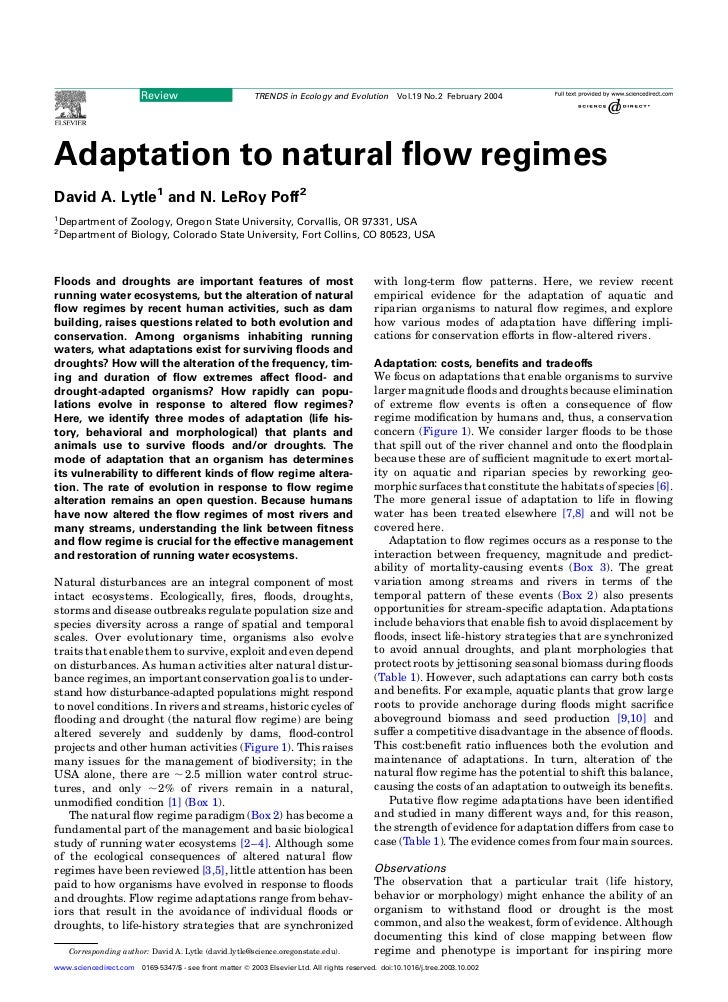 Review                          TRENDS in Ecology and Evolution           Vol.19 No.2 February 2004Adaptation to natural fl...