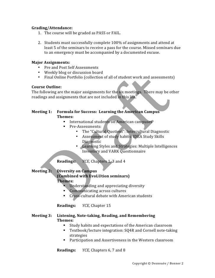 Adaptation to the american university   syllabus fall 2010 Slide 2