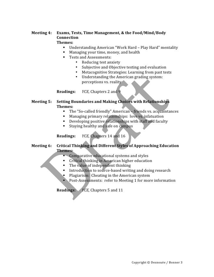Adaptation to the american university   syllabus fall 2010 Slide 3