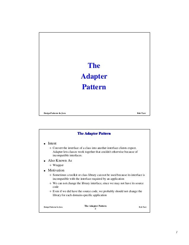 The                                  Adapter                                  PatternDesign Patterns In Java              ...