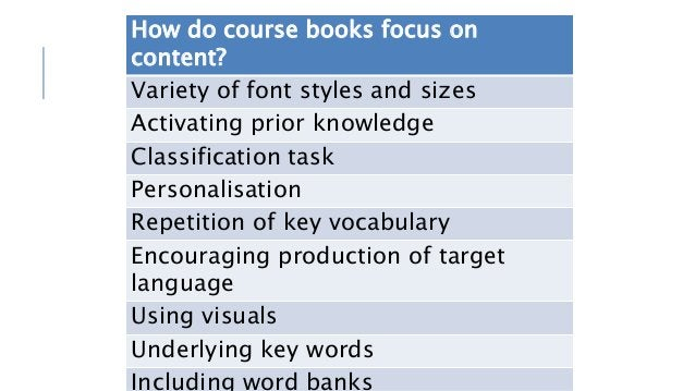 How do course books focus on content? Variety of font styles and sizes Activating prior knowledge Classification task Pers...