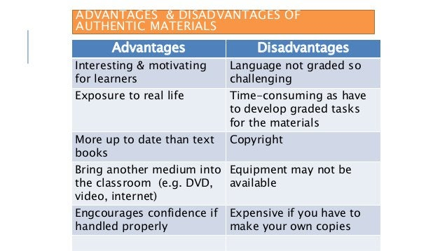 ADVANTAGES & DISADVANTAGES OF AUTHENTIC MATERIALS Advantages Disadvantages Interesting & motivating for learners Language ...