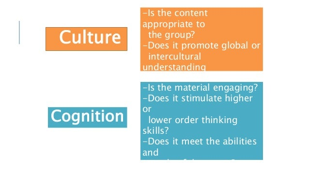 Culture -Is the content appropriate to the group? -Does it promote global or intercultural understanding and awareness? Co...