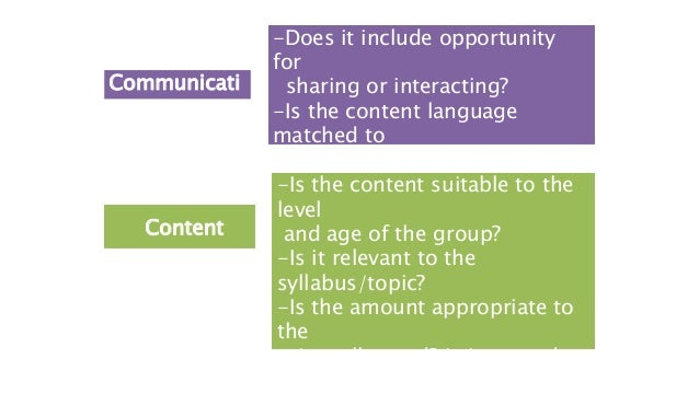 Communicati on -Does it include opportunity for sharing or interacting? -Is the content language matched to the level of t...