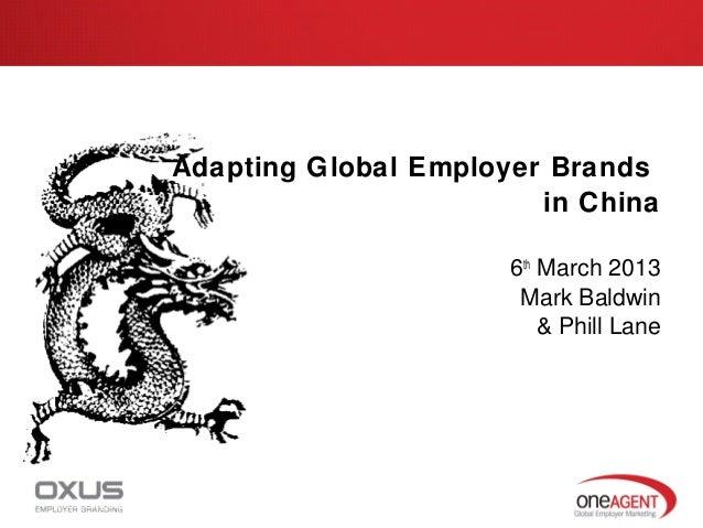 Adapting Global Employer Brands                                             in China                                      ...