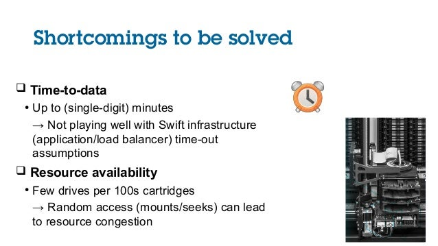 Shortcomings to be solved  Time-to-data ● Up to (single-digit) minutes → Not playing well with Swift infrastructure (appl...