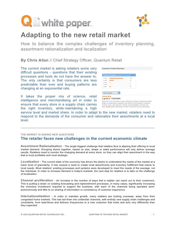 Adapting to the new retail market How to balance the complex challenges of inventory planning, assortment rationalization ...