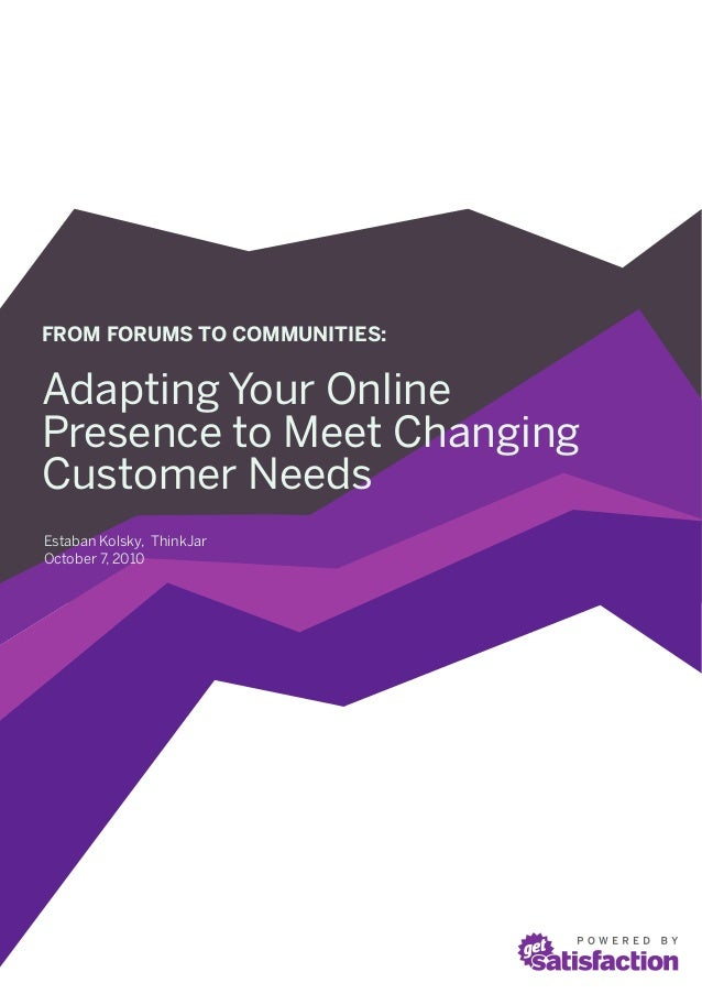 FROM FORUMS TO COMMUNITIES:Adapting Your OnlinePresence to Meet ChangingCustomer NeedsEstaban Kolsky, ThinkJarOctober 7, 2...