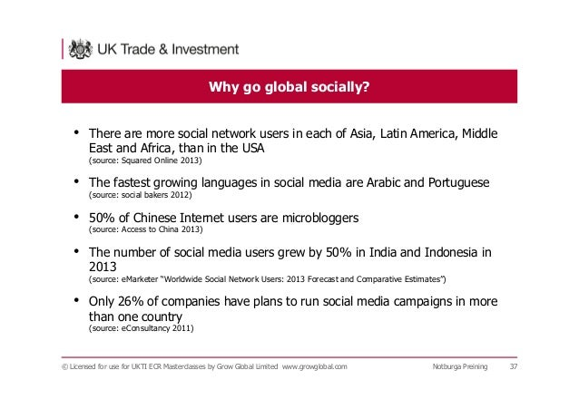Why go global socially? © Licensed for use for UKTI ECR Masterclasses by Grow Global Limited www.growglobal.com Notburga P...