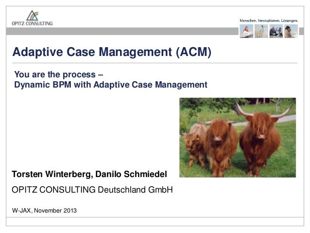 Adaptive Case Management (ACM) You are the process – Dynamic BPM with Adaptive Case Management  Torsten Winterberg, Danilo...