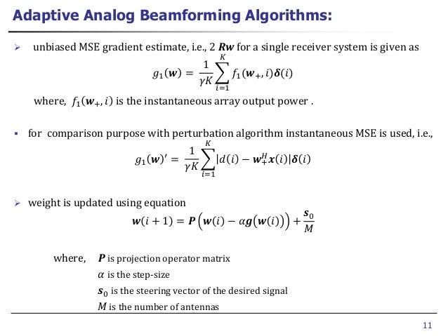 Adaptive analog beamforming