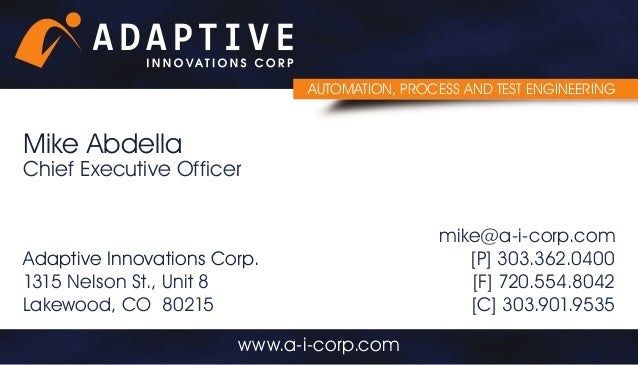 adaptive innovations business card