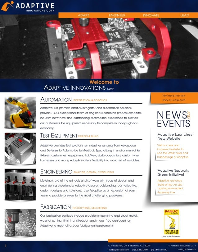 ADAPT  ENGINEER  INNOVATE  LEAD  Welcome to ADAPTIVE INNOVATIONS CORP  AUTOMATION  For more info visit www.a-i-corp.com  I...