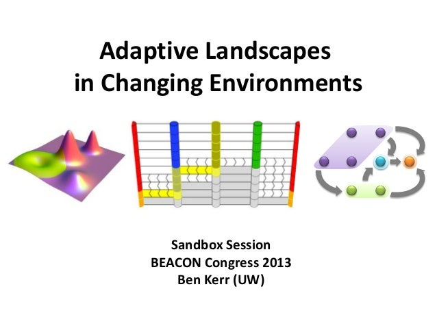 Adaptive Landscapes in Changing Environments Sandbox Session BEACON Congress 2013 Ben Kerr (UW)