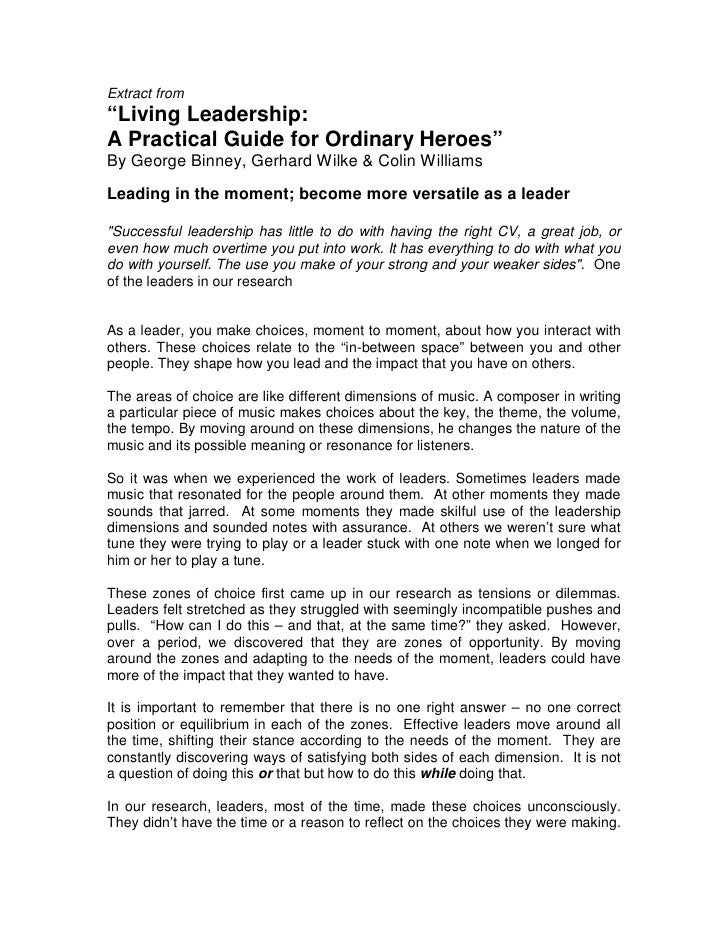 """Extract from""""Living Leadership:A Practical Guide for Ordinary Heroes""""By George Binney, Gerhard Wilke & Colin WilliamsLeadi..."""