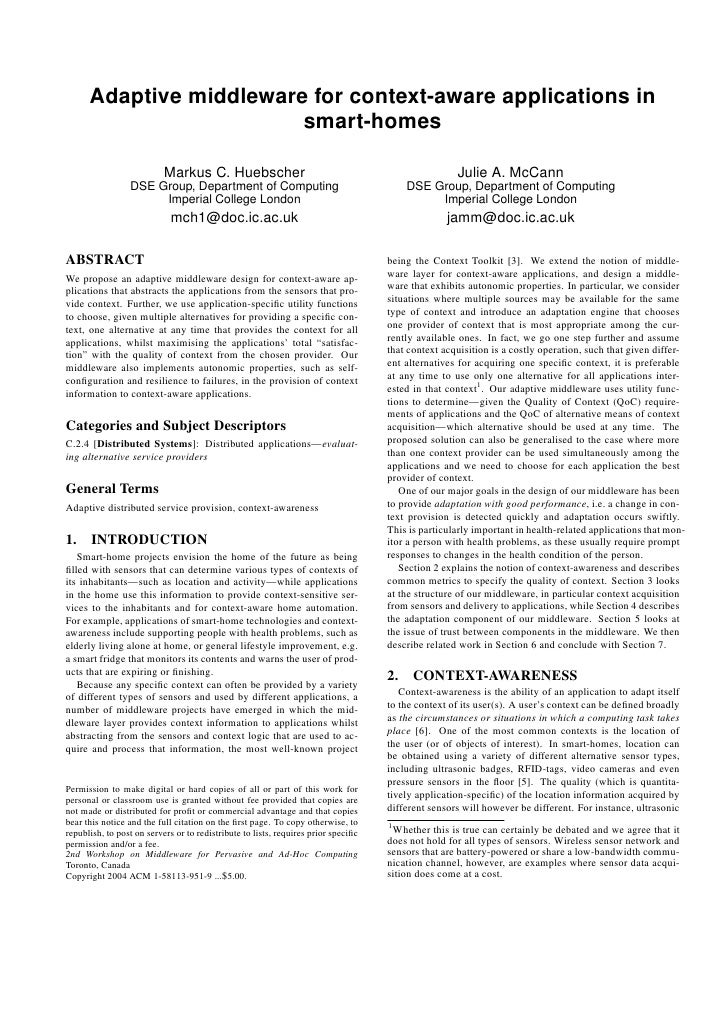 Adaptive middleware for context-aware applications in                         smart-homes                           Markus...