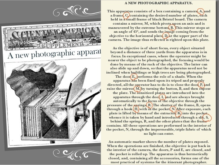 A NEW PHOTOGRAPHIC APPARATUS.                             This apparatus consists of a box containing a camera, A, and    ...