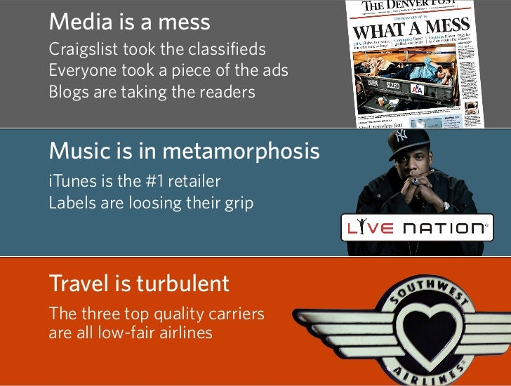 Media is a mess Craigslist took the classifieds Everyone took a piece of the ads Blogs are taking the readers   Music is i...