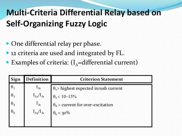 Multi-Criteria Differential Relay based on Self-Organizing Fuzzy Logic  One differential relay per phase.  12 criteria a...