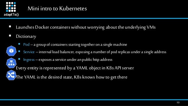 Mini intro toKubernetes 10  Launches Docker containers without worrying about the underlying VMs  Dictionary  Pod–a gro...