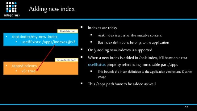 Addingnew index 32  Indexesaretricky  /oak:index is a part of the mutable content  But indexdefinitions belongs to the ...